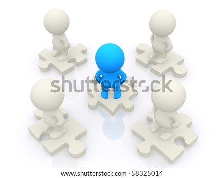 3D team standing on pieces of a puzzle isolated over a white backgound