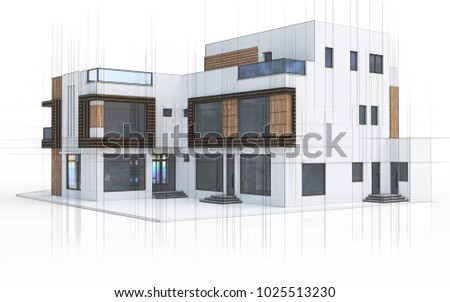 3d technical drawing house, villa on a white background 3D illustration