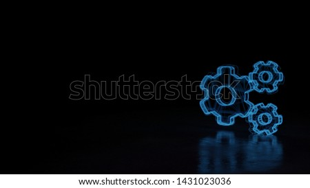 3d techno neon blue glowing wireframe with glitches symbol of big cogwheel and two small cogwheels isolated on black background with distorted reflection on floor