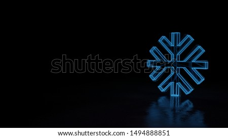3d techno neon blue glowing wireframe with glitches symbol of snowflake isolated on black background with distorted reflection on floor