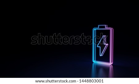 3d techno neon purple blue glowing outline wireframe vertical vertical symbol of charging empty battery with flash isolated on black background with glossy reflection on floor