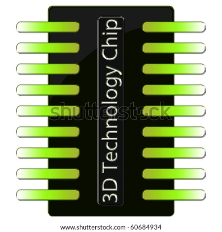 3D Technology Microchip in green color