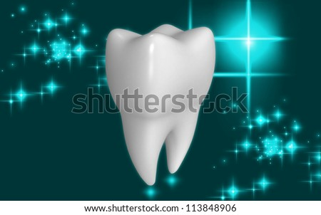 3d teeth on color background