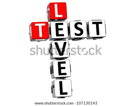 3D Test Level Crossword on white background