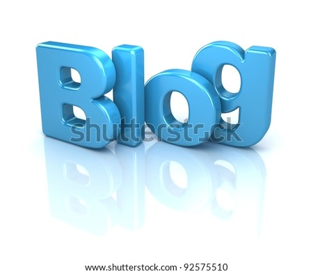 3d text blog, isolated over white background