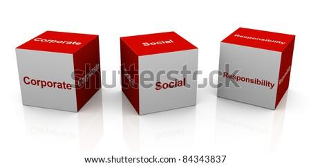 3d text cubes of buzzword csr - 'corporate social responsibility'