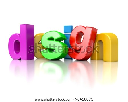 3d text DESIGN in the colors of the rainbow