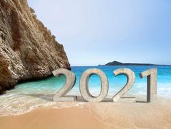 2021 3D text in Kaputas beach.  Kas, Antalya, Turkey