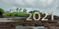 2021 3D text in Tanah lot Bali