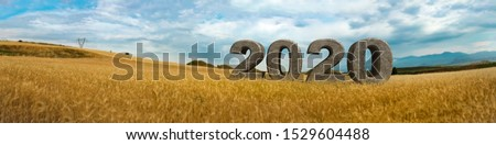 3D 2020 text inside field of wheat, next to historical tumulus graves panorama view. Bintepeler, Salihli Manisa #1529604488