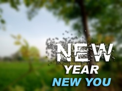 3D Text New Year New You on blurred green natural background. 3D rendered royalty free stock picture. This image can be used for an online website banner ad or a print postcard. Copy Space for text