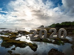 2020 3D text next to Tanah Lot Temple Bali, Indonesia