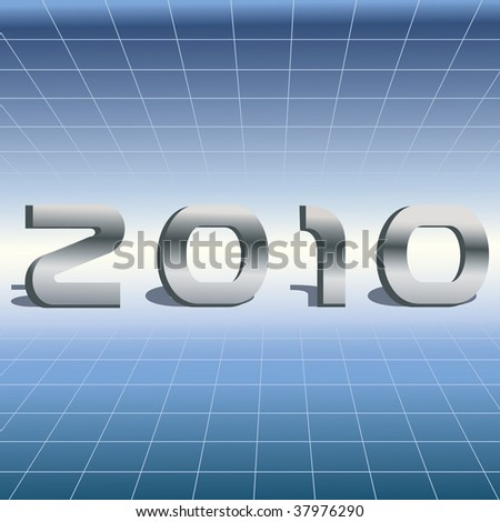 2010 3d Text on High Tech Futuristic Background
