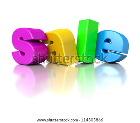 3d text sale in rainbow colors
