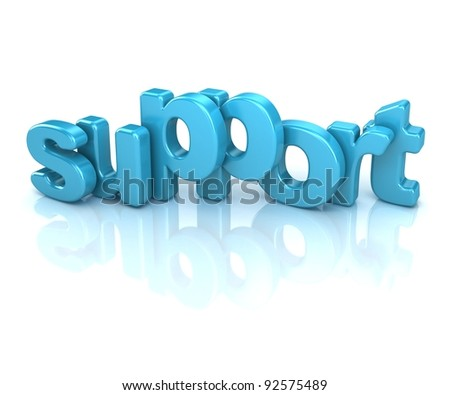 3d text support, isolated over white background