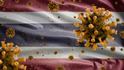 3D, Thai flag waving with coronavirus outbreak infecting respiratory system as dangerous flu. Influenza type Covid 19 virus with national Thailand banner blowing at background. Pandemic risk concept