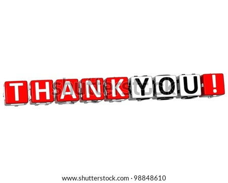 3D Thank You Cube text on white background - stock photo