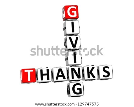 3D Thanks Giving Crossword on white background