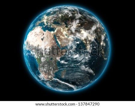 3D The Earth displaying the African continent (Collage images from www.nasa.gov)