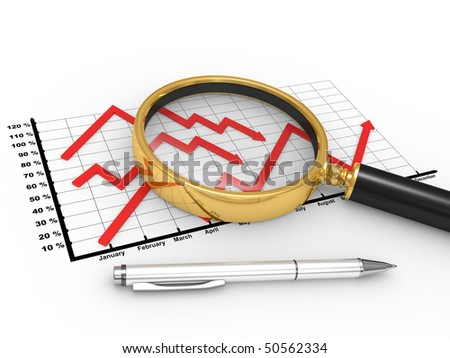 3D the graph with a magnifier, the concept of the profound analysis of the market