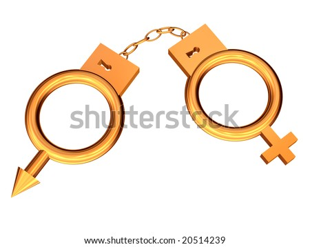3D the image of man's and female symbols in the form of handcuffs from gold.