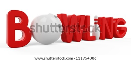 3D the word bowling, pins and ball on white background