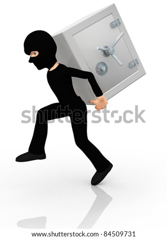 3D thief stealing a safe ? isolated over a white background