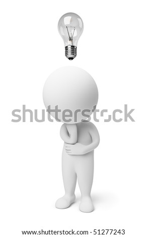 3d thinking small people with a bulb over a head. 3d image. Isolated white background.
