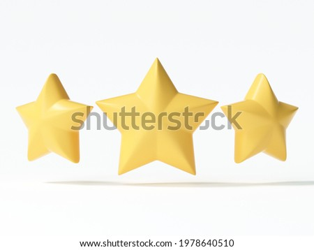3D three yellow star icon on isolated white background. 3d render illustration