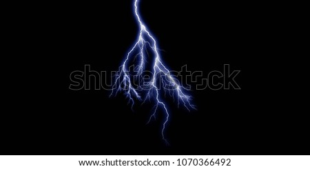 3D Thunder light in black background