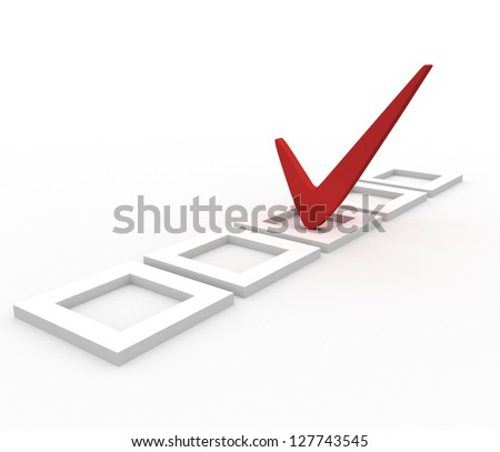 3d tick box isolated over white background