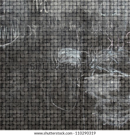 3d tile mosaic wall floor in gray grunge stone with graffiti mark - stock photo