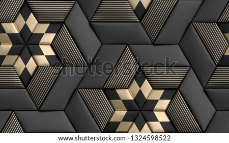 3D tiles soft geometry form made from black leather with golden decor stripes and rhombus. High quality seamless realistic texture.