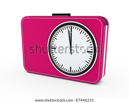 3d time glock alarm pink watch countdown - stock photo