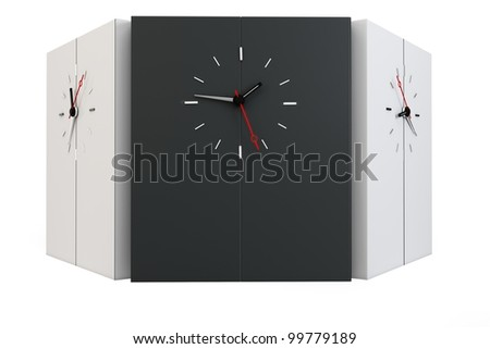 3d time zones wall with clocks on white background