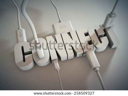 3d Title connected with computer cables and wires. Connect via social media, internet and devices and smart phones