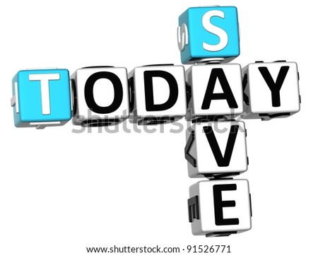 3D Today Save Crossword on white background