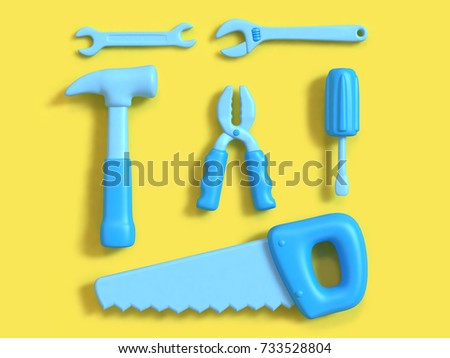 3d tools set square composition group top view yellow background minimal 3d rendering,craft-technician-engineer tools concept cartoon style