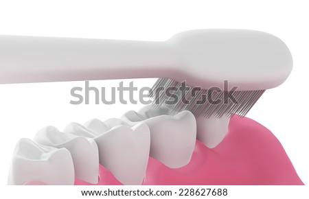 3D Toothbrush cleaning teeth in mouth isolated