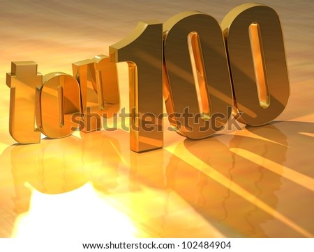 3D Top 100 Gold Text over yellow background