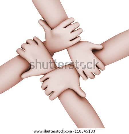 3d top view illustration of four mens hands joined together.  Concept of team work
