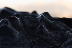 3D topographical map of the Yosemite at Glacier Point at sunset