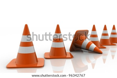 3d Traffic Cones isolated on white