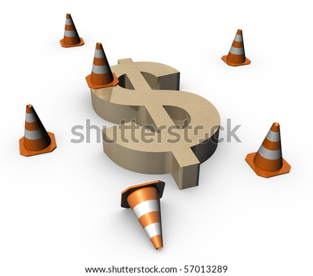 3d traffic cones with a big dollar sign