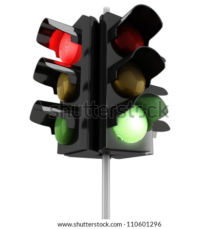 3d traffic lights on white background