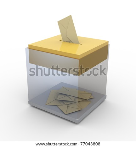 3d transparent ballot box. Concept of voting / email / postage