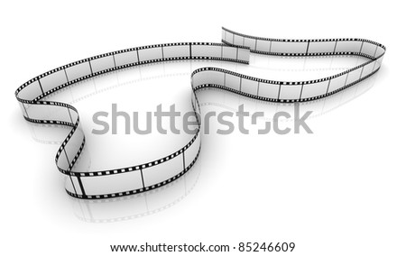 3d transparent film strip on white background