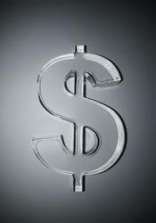 3D transparent glass symbol of dollar.