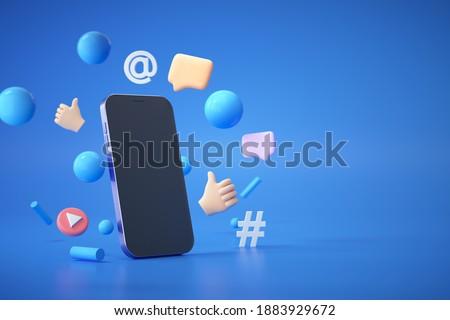 3D Trend Social Media Platform, online social communication applications concept, emoji, hashtag, chat bubbles floating with smartphone on blue background. 3d illustration