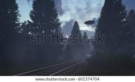 3D Triangular UFOs over the railway